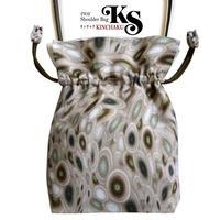 No.14 KSB★2WAY   KINCHAKU  【 Green Cellsグリーンセルズ】本体内ポケット+ Pポーチ付 オリジナルプリント &ハンドメイド少数販売品