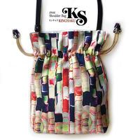 No.19 KSB★2WAY KINCHAKU 【あられ 】本体内ポケット+Pポーチ付オリジナルプリント &ハンドメイド 少数販売品