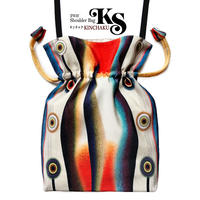 No.10 KSB★2WAY  KINCHAKU 【Evening Calm 穏やかな夕べ】本体内ポケット+ Pポーチ付 オリジナルプリント &ハンドメイド少数販売品