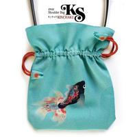 No.36 KSB★2WAY   KINCHAKU  【 黒金魚 】[Pポーチ+本体内ポケット付] オリジナルプリント&ハンドメイド少数販売品