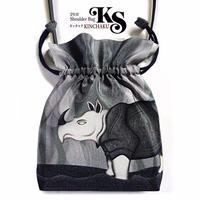 No.59 KSB★2WAY KINCHAKU  【 Presence】本体内ポケット+ Pポーチ付 オリジナルプリント &ハンドメイド少数販売品