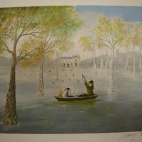 売却済み :リトグラフ アラン・ボネック 「母の城」  シート