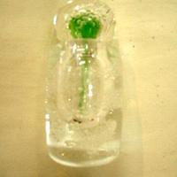 ガラス作家 石垣幸秀作品  香水瓶  吹きガラスーグリーン   E32  売却済み