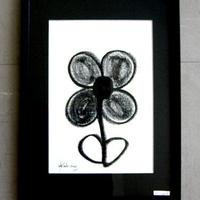 #9 人気現代アート作家・今井アレクサンドル キャンバスにク レヨン 「花」新品額入り