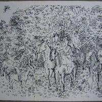ブラックフライデーキャンペーン ラウルデュフィのリトグラフ 「乗馬」 新品額に入れお届けいたします。