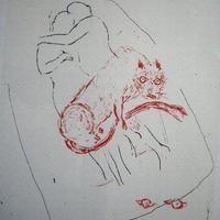 売却済み 山本容子・日仏会館「ギリシャ古典劇の仮面」リトグラフポスター 1991年制作