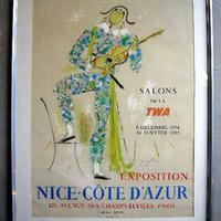 ジャン・コクトー 「ニース・コートダジュール」展 オリジナルリトグラフポスター・額入り 1954年