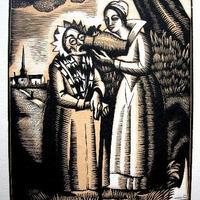 「妖精たち」作家コンスタン・ル・ブルトン 木版画
