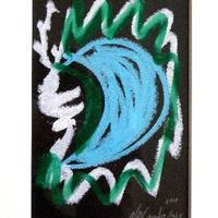 売却済み #4 注目の現代アート作家・今井アレクサンドルのクレヨン画 「月」?