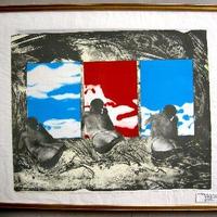 池田満寿夫のリトグラフ 「窓に向かって泳ぐ」 1969年制作{刊行1970年}  直筆鉛筆サイン、限定番号