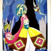 アールデコのポショワールを忠実に再現した現代のポショワール版画
