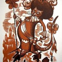 「長靴を履いた猫」 1928年制作 木版画