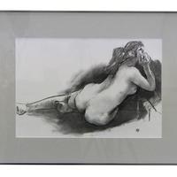 額装木炭画(裸婦)渋谷円吉  作