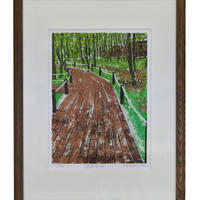 額装版画(遊歩道の香リ)根田武彦  作