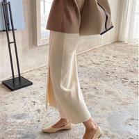 knit wrap skirt/3color