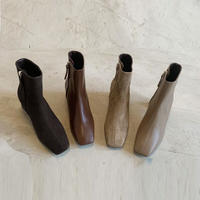 【real leather】square too short boots/suede leather