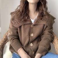 design collar knit cardigan/2color