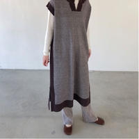 houndstooth long kint vest