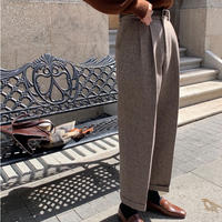herringbone wool slacks/2color