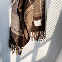 check fringe stole/2color