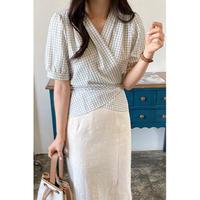 check cache-coeur blouse/2color