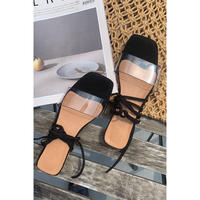 clear lace up sandal/black[0083]