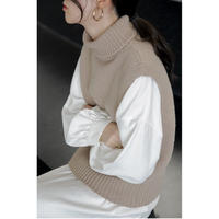 turtleneck knit vest/3color