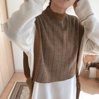 jacquard knit vest/2color