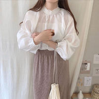frill neck blouse/2color
