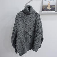 【MADE in KOREA】cable high neck knit