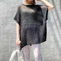 【予約】sheer mesh french sleeve tops