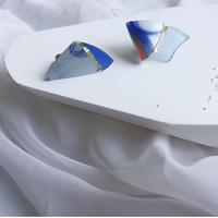 """""""anamnesis""""  金継ぎ/シーポタリー×シーグラス/藍×青P0/M/イヤリング/ペア"""