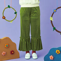 waving frill velours pants(green)