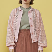 window pane see through cardigan ( pink )