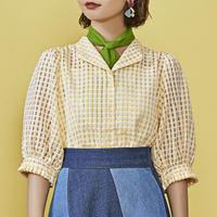 lemonade retro see through blouse
