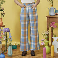 check flare pants( blue×yellow )