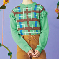 pop coloring check  knit(green)