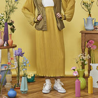 cosmos mellow pleats skirt ( mustard yellow )
