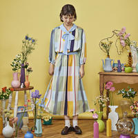 colorful pattern ribbon tie dress ( sky blue )