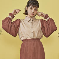 cosmos frill docking shirt ( brown )