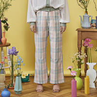 check flare pants ( green×pink )