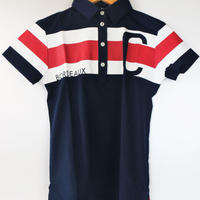 CLUNK(クランク) レディース ストレッチ ビッグアイコン 半袖ポロシャツ