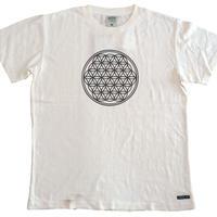 【Tシャツ】フラワー・オブ・ライフ1 麻生地 麻炭インク100%
