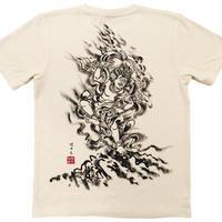 【手描きTシャツ】蔵王権現  クリーム  麻生地