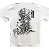 【手描きTシャツ】 毘沙門天 白 綿生地