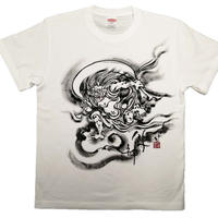 【手描きTシャツ】風神 白 綿生地