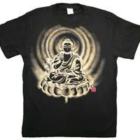 【手描きTシャツ】かわいい薬師如来 黒 綿生地