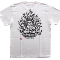 【手描きTシャツ 半袖 長袖】不動明王オリジナル  白  綿生地