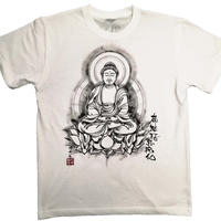 手描きTシャツ 仏画 No.20 阿弥陀如来 座像 白 綿生地 (半袖 長袖)