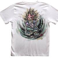 【手描きTシャツ】酒呑童子 白 彩色 コットン生地